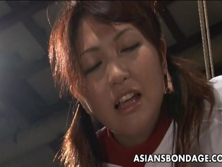 Awesome Korean cheerleader likes the round of bdsm.