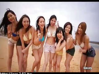Japanese beach group sex creampie big boobs