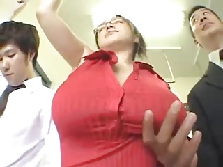 Busty Japanese in the Train