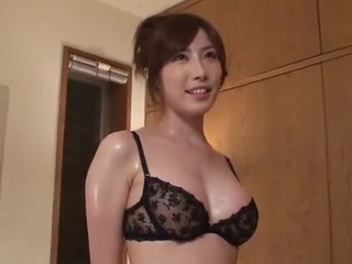 Greased Up Yui Akane inside chocolate underwear Gives the nice jerking And Titjob