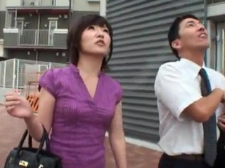 Public BJ onto A Bus around Cute Japanese Milf.