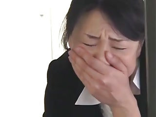 Asian office worker plays with herself under the table